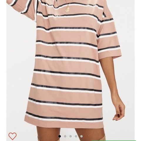 fdbd2ecef07 PLT Camel Striped Oversized Boyfriend T Shirt Dress