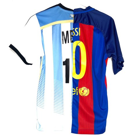 d92c008517d Custom 1 of 1 Split Lionel Messi Soccer Jersey ✖️Hand Cut   - Depop