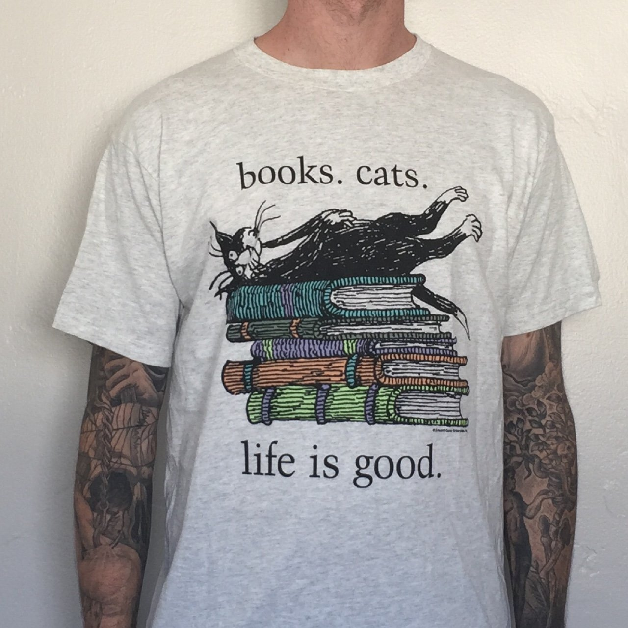 5f21a04b8063f4 @roodboi. 3 years ago. San Diego, CA, USA. Vintage NWOT Books Cats Life is  Good Heather Grey T-Shirt.