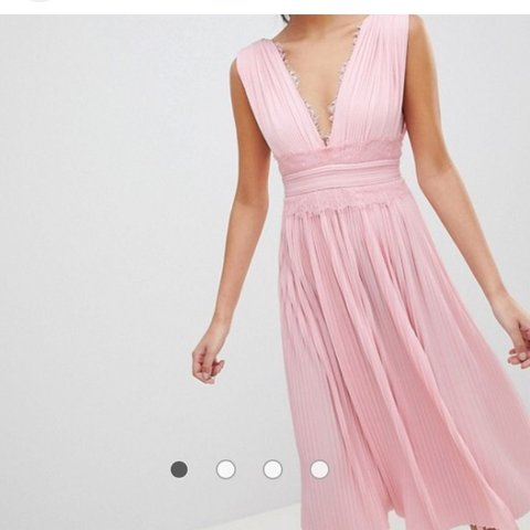 11089d0fc51f ASOS Design pink premium Lace insert pleated midi dress / / - Depop