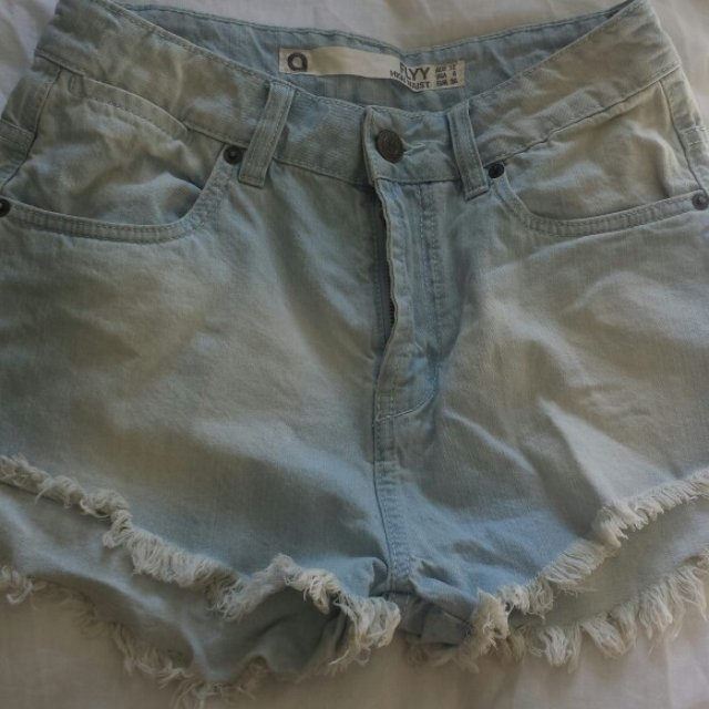 3a211a1faa0 Washed out denim high wasited shorts. Never worn size 10 but - Depop