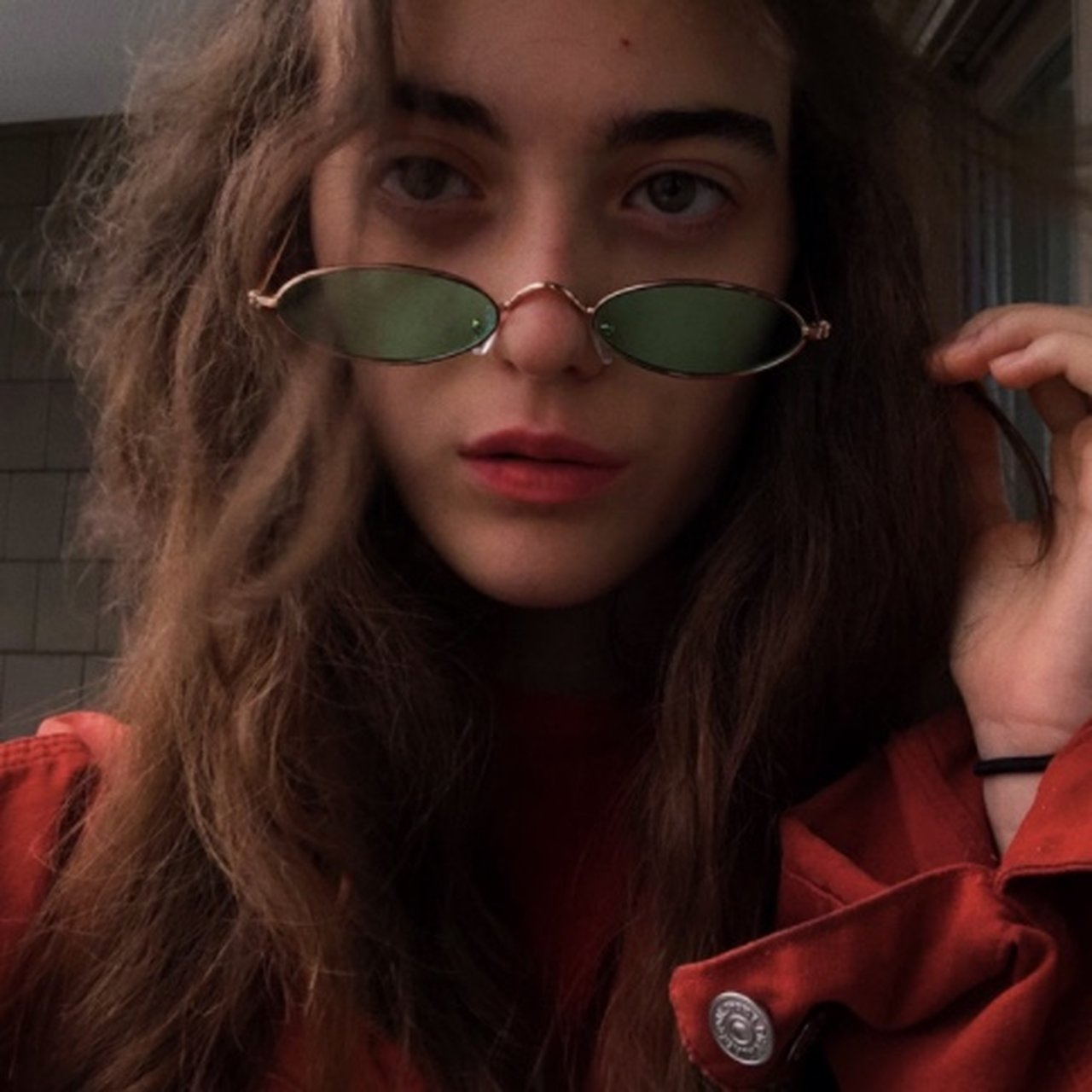 Vintage Green Gold Thin Sunglasses Got These At Market Depop