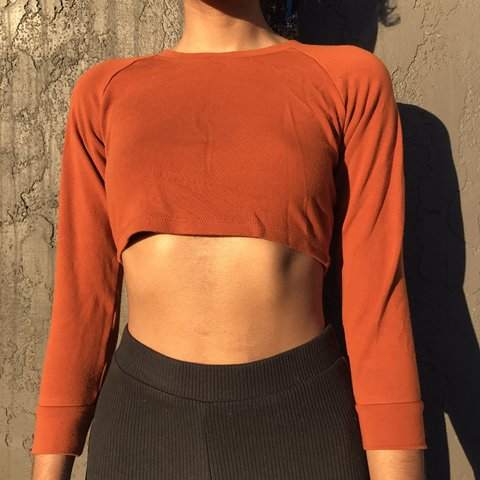 91e1c21982f1b0 V QT pumpkin burnt orange 🍊 American apparel 3 4th sleeve - Depop
