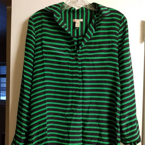 b512542f11 Green and black striped button down shirt. Excellent - Depop