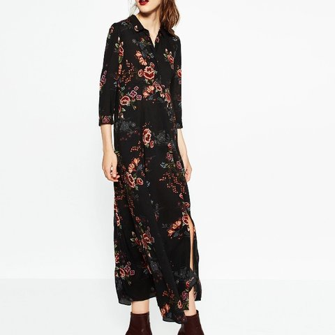 ed1fa7883836 @naseemaj. 5 months ago. Bolton, United Kingdom. Zara long shirt maxi dress  in black. Floral print and buttons ...