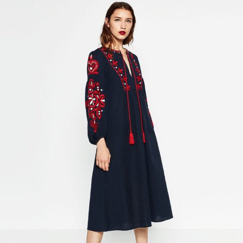 c04604c3 Zara navy blue midi boho peasent dress with red embroidery a - Depop