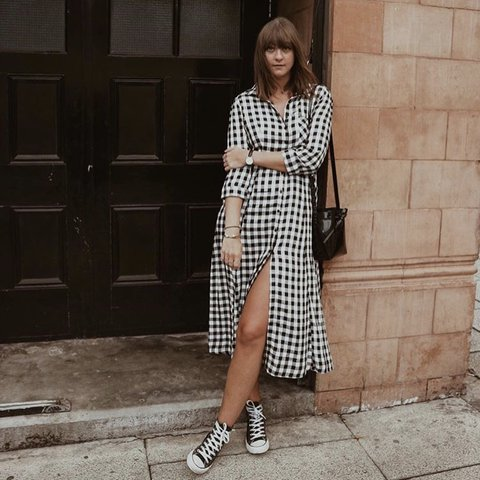 9595a09b14 New look black and white check gingham mid shirt dress. Worn - Depop