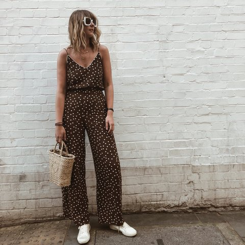 c338f15bcd0a9 Zara brown and white polka dot cami top and trousers set as - Depop