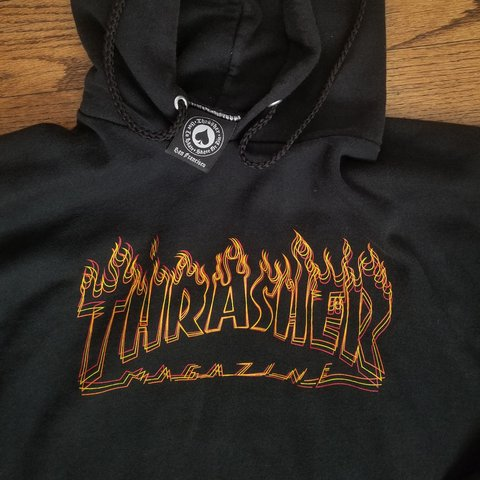 7089d22277cf Thrasher Magazine Richter Flame Logo Hoodie Black Used but - Depop