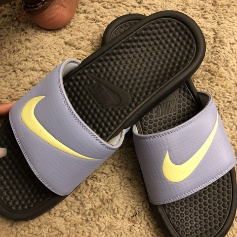 16d9f93359a Cute Nike slides with yellow swoosh  ) I don t wear these a - Depop