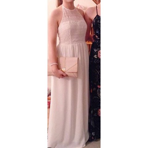 93a066ebd5 White backless maxi dress with halterneck and crotchet 👗 or - Depop