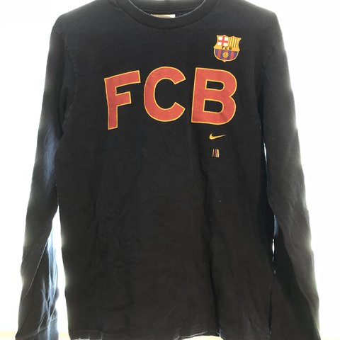 cd36621a FC Barcelona Nike navy long sleeve t shirt size small. Shirt - Depop