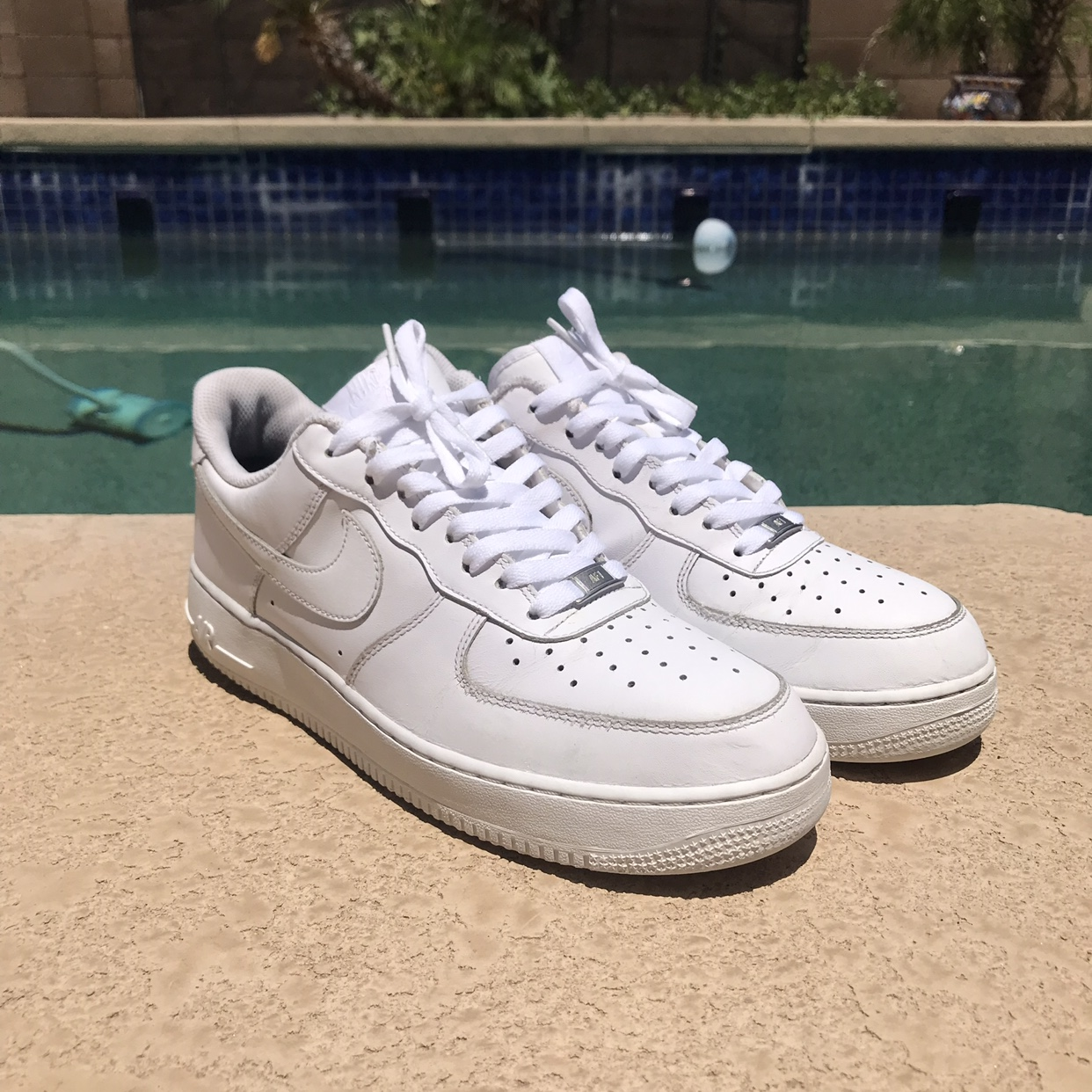 Nike Air Force 1 Low Triple White •Size 10.5 in MENS... - Depop