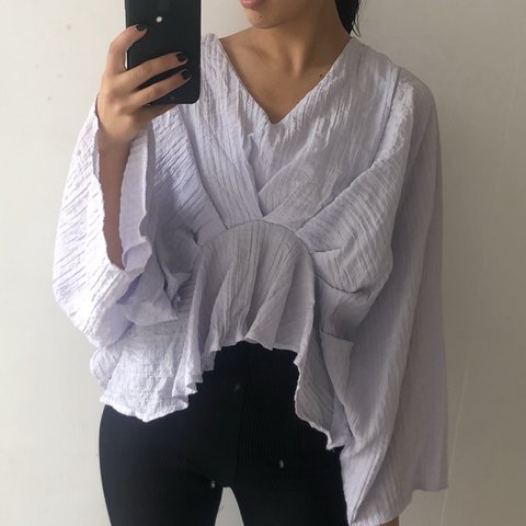 Crinkled material lilac grey crop top with wide sleeves and - Depop 1b57b5ffc
