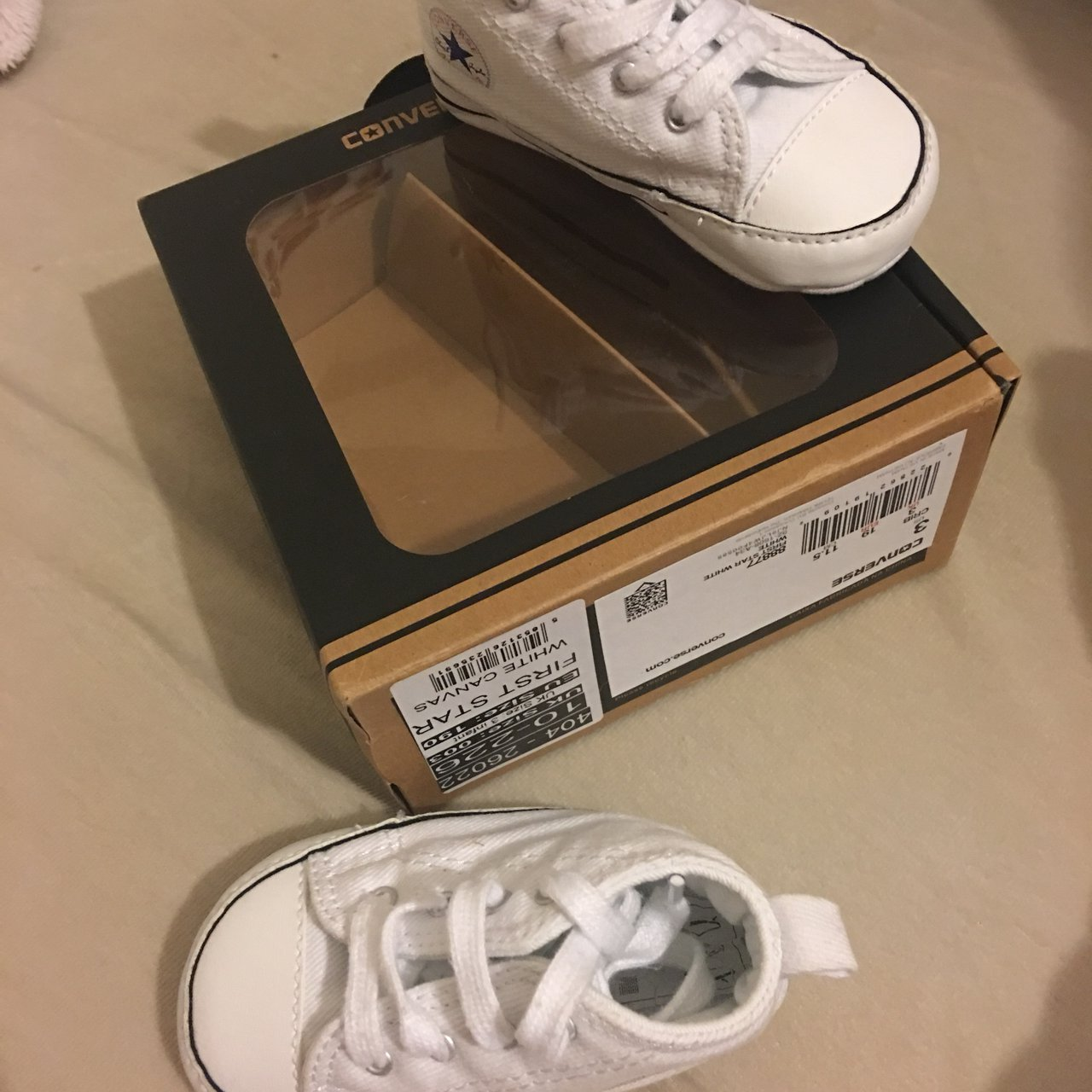 c3349c52338 Baby unisex white converse size 3. Good condition