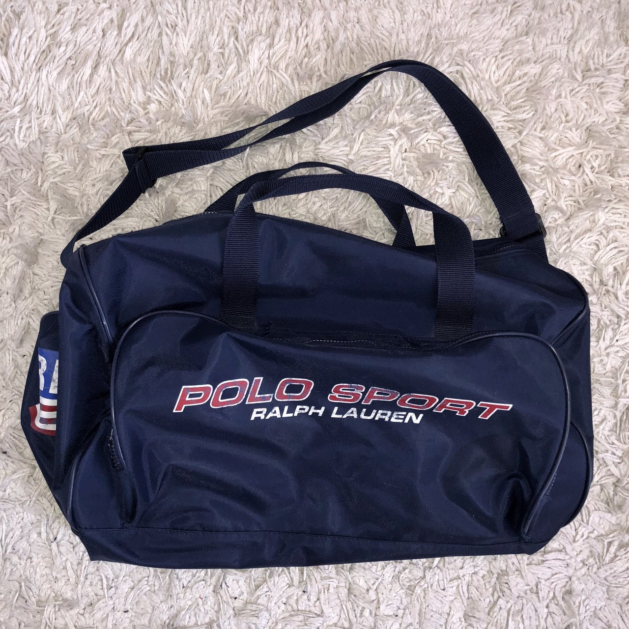 6391ab9bfd Vintage Polo Sport Ralph Lauren Duffle Bag Color  Navy Red - Depop