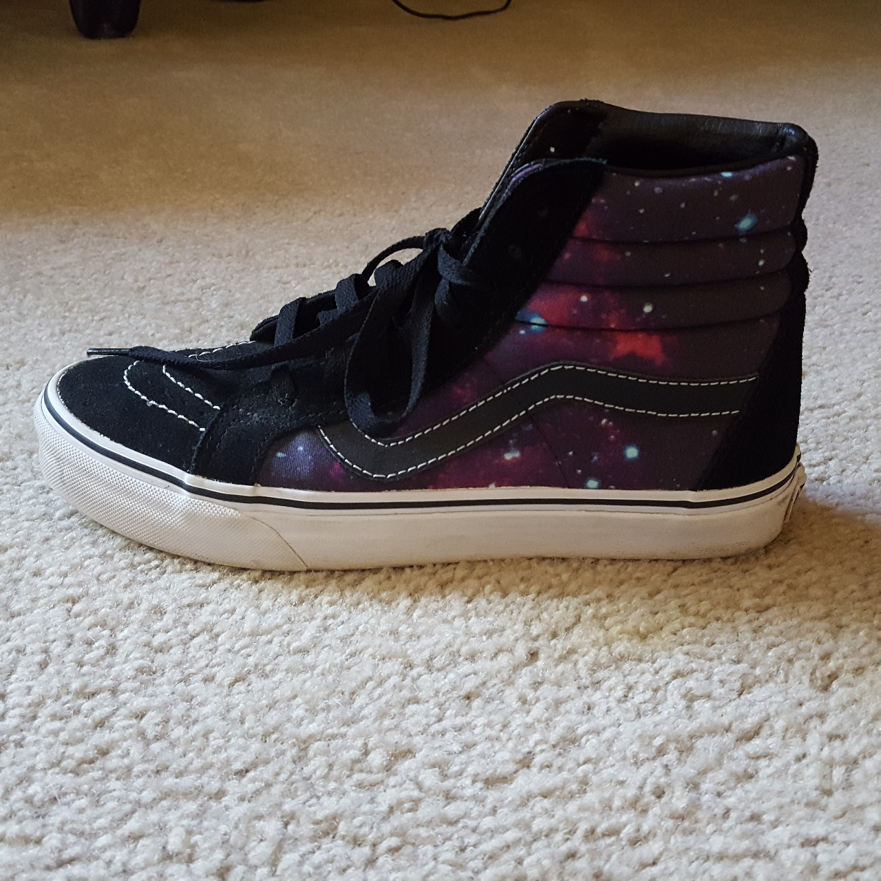 Galaxy high top vans. Gently used