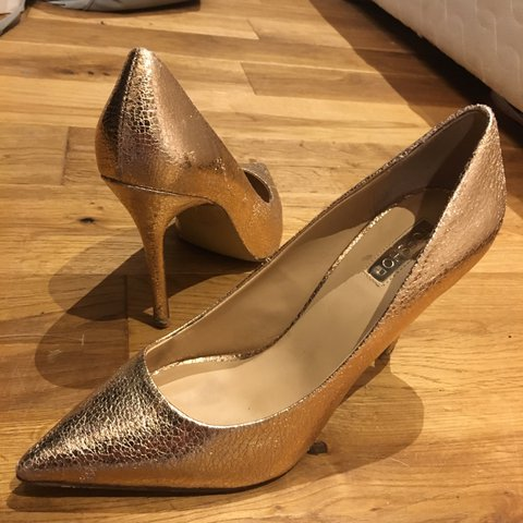 7b615b02fa47 Rose gold metallic finish foil foiled topshop high heels 7. - Depop