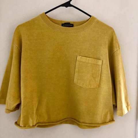 42c4defc Mustard Yellow Cropped T Shirt Fitted For Women S Cute To I Depop