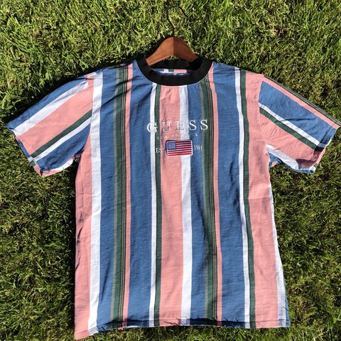 bc7e7465 Guess Jeans Striped Shirt Paramore Pink White Blue Has Depop