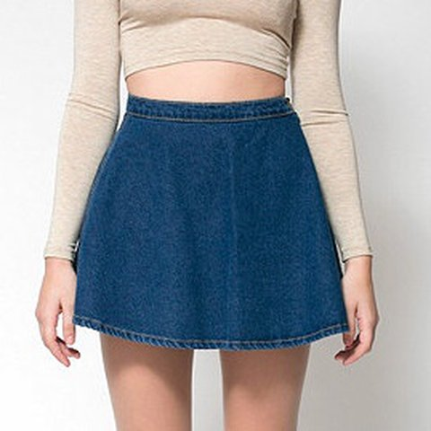 d7d5b5b63 american apparel dark denim circle skirt -size small - Depop