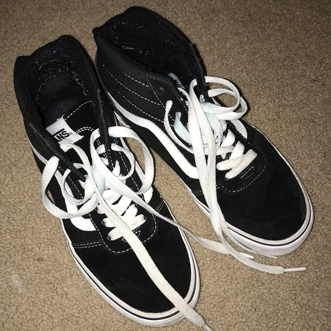 1db833c2b4 Black high top vans Worn a few times Shoes laces have blue 7 - Depop