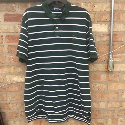 a2973429a VINTAGE POLO RALPH LAUREN GREEN WITH NAVY BLUE AND WHITE a - Depop