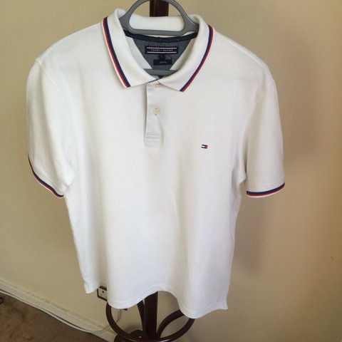0435cfef @vintageclothingglasgow. 8 months ago. Glasgow, United Kingdom. Tommy  Hilfiger Polo Shirt in White with Navy ...