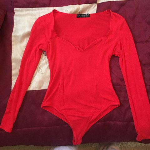 874fca633a Missguided size 8 red bodysuit.  missguided  bodysuit  top - Depop