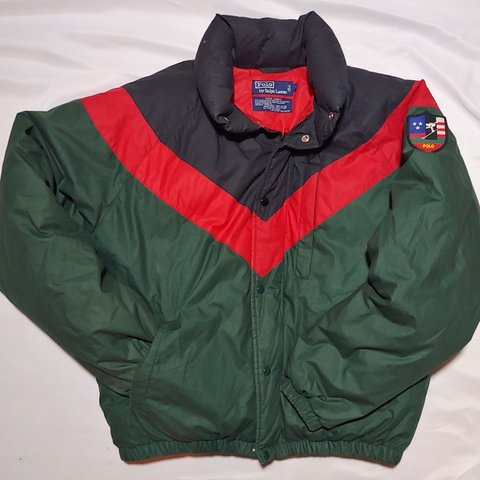 6a2eab683 90's Polo Ralph Lauren down jacket Gucci colorway color Snow - Depop