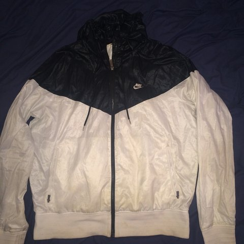 b91bb38859 PRICE DROP..... Nike Windbreaker Black And White Size Adidas - Depop