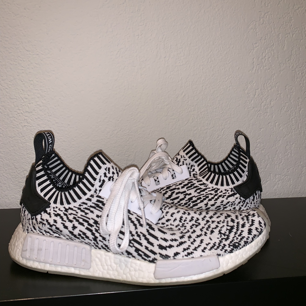 "timeless design e1838 f69b8 Sashiko Adidas NMD R1 ""zebra"" pack. Only worn maybe ..."