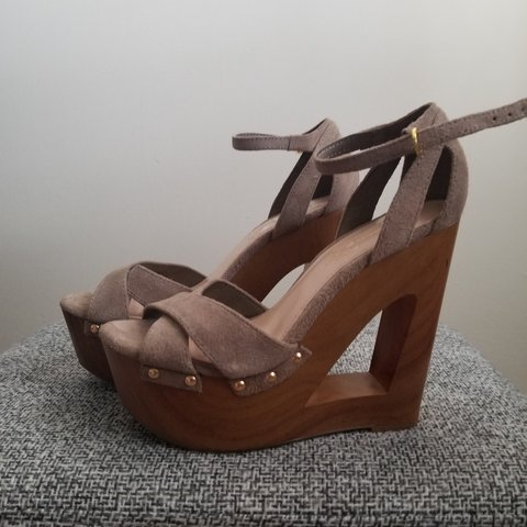 49074e659cd Tan suede and wooden wedges. Barely worn. Jessica Simpson - Depop