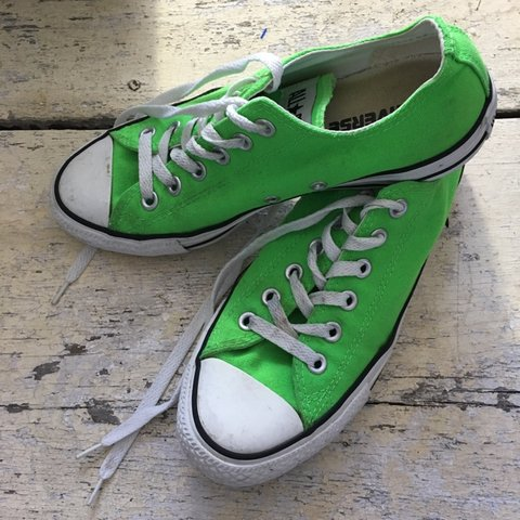 bb329767216 Lime green Converse Great preowned condition Does have and - Depop