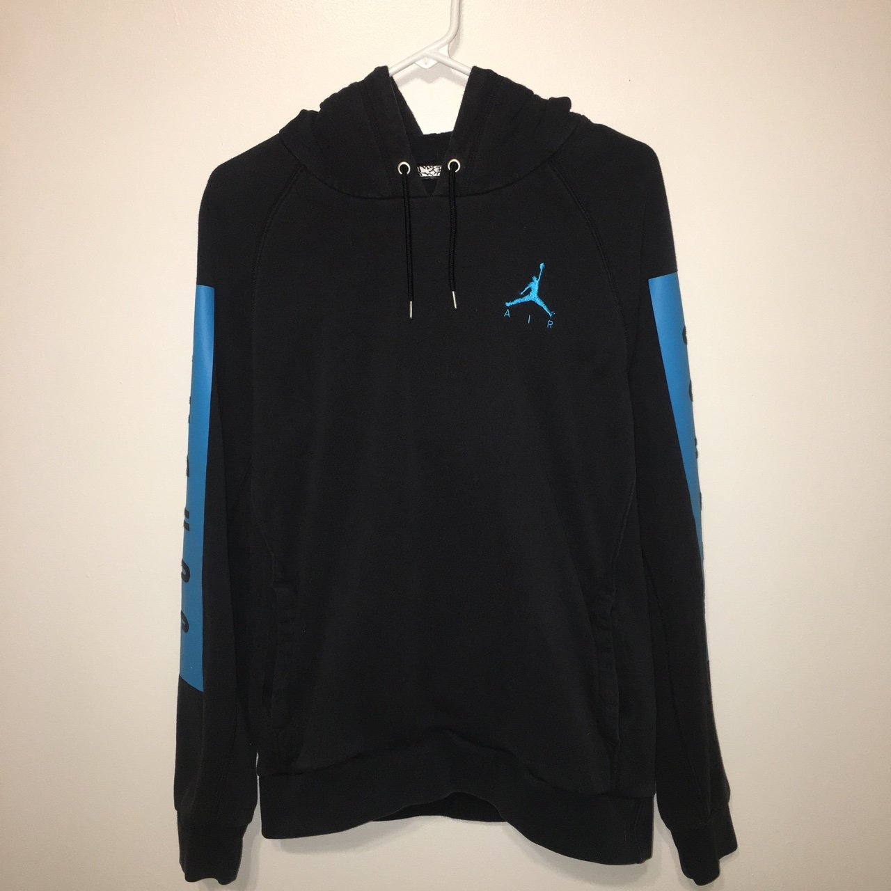 d5d776483bf89a Air Jordan hoodie Color  Black blue Size  S In perfect This - Depop