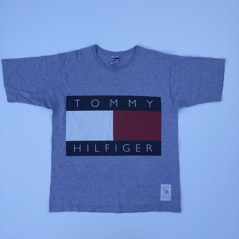 1e796e269 @gngthriftstore. 3 years ago. United Kingdom. TOMMY HILFIGER BIG LOGO T- SHIRT 🔥Great condition • Grey • Size large • #tommyhilfiger ...