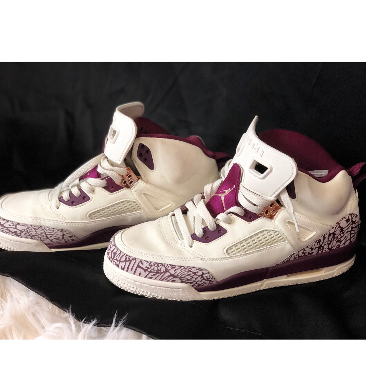 info for 48aab 6163d Jordan Retro 3. Maroon and rose gold details are... - Depop