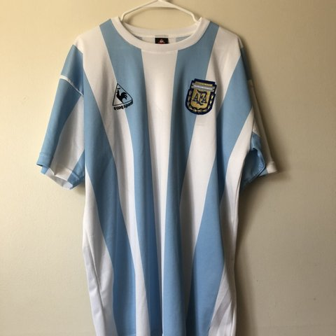 5ab4e41b841 @nuthairs67. 4 months ago. Naperville, United States. Le Coq Sportif 1986  Argentina World Cup Replica Jersey ...