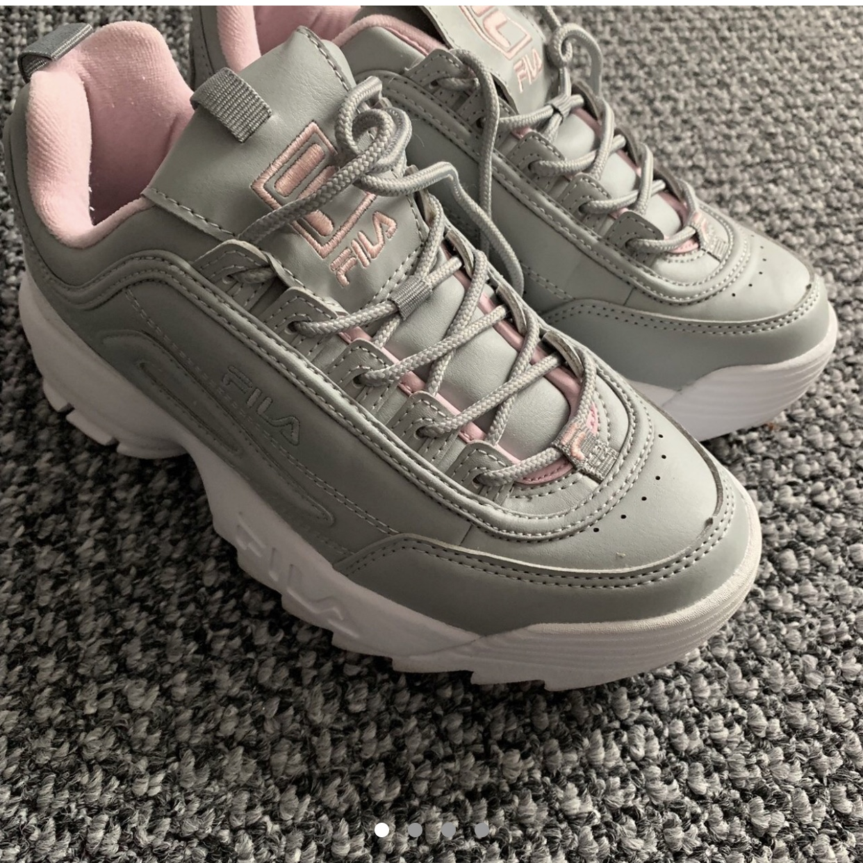Fila Disruptor   Grey and pink shoes Size 3 Bought Depop