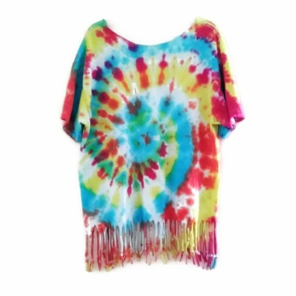 c44d9b5725277 Upcycled Tie Dye with Beaded Fringe No size tag but... - Depop