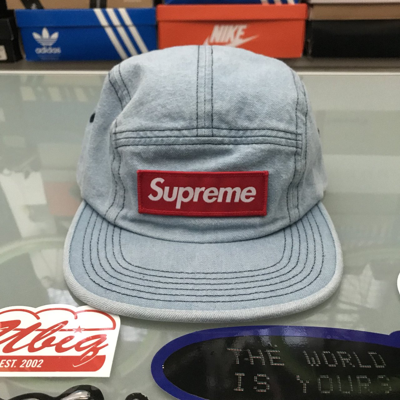 Supreme Washed Chino Twill Camp Cap FW18 Denim Brand New!! - Depop 8104760e32a