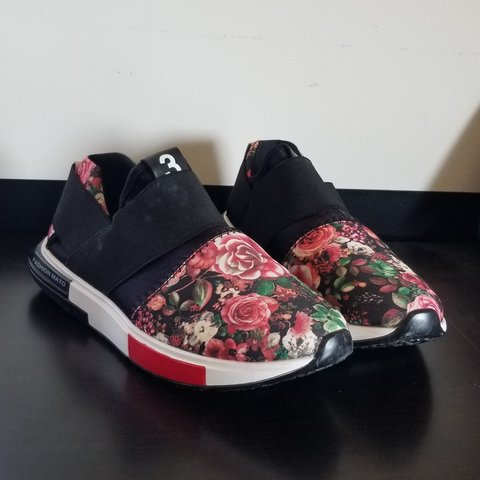 acc90359d Fake Adidas Y-3 floral black white and red these shoes are a - Depop