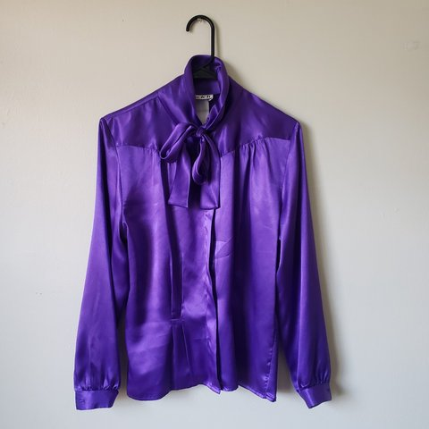 1e3733133 Vintage polyester purple tie button down blouse My Current - Depop
