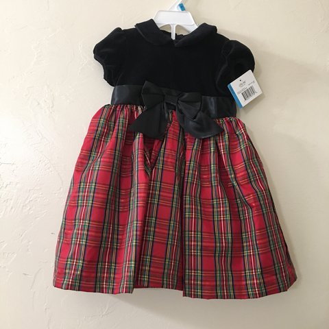 de3a01ed6af5 @m_singh. 7 months ago. Marana, United States. FREE SHIPPING!!! Little Girl Baby  Girls Plaid Holiday Christmas Dress - Red and green plaid Black velvet ...