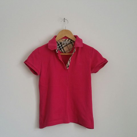 e2b91d267bc Vintage Women s Genuine BURBERRY Fuschia Pink Soft Feel Polo - Depop