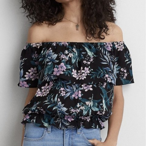 b7b2be59923f6 American Eagle Outfitters off the shoulder top Black with - Depop