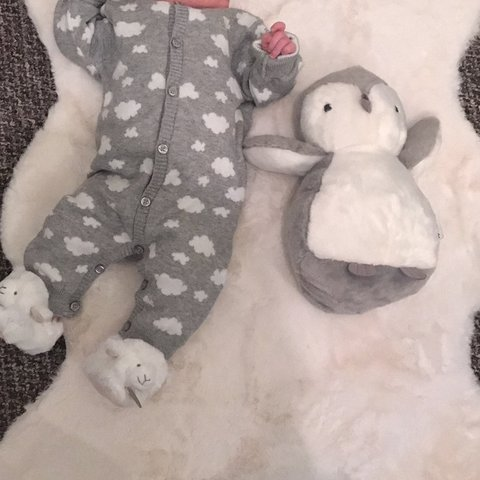 800edbb16 Matalan 0-3 months baby cloud unisex baby grow. Grey and the - Depop