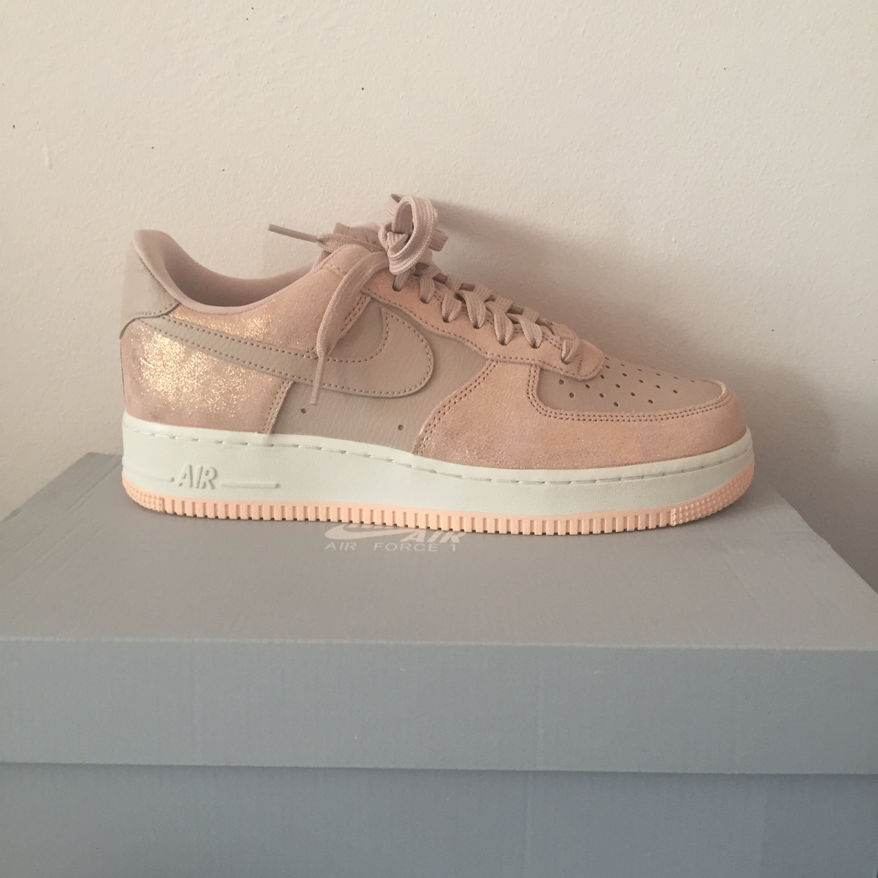 Nude pink sparkly Nike Air Force 1 Pink