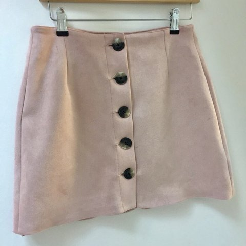 a245448cdc57 @alexa0327. 10 months ago. London, United Kingdom. Bershka pink suede  effect skirt with tortoise shell buttons. New with tags on