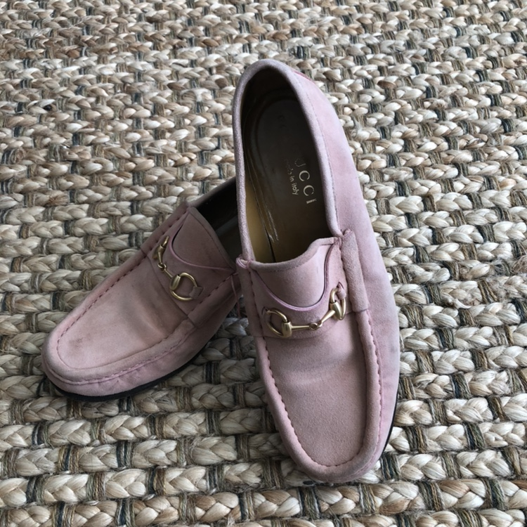 Pink Suede Gucci Horse Bit Loafers